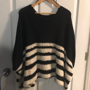 Forever 21 oversized striped shirt sleeve sweater